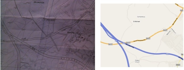 Sam's map vs Google map of St Alban's South-west / Carte de Sam contre carte Google du sud-ouest de St Albans