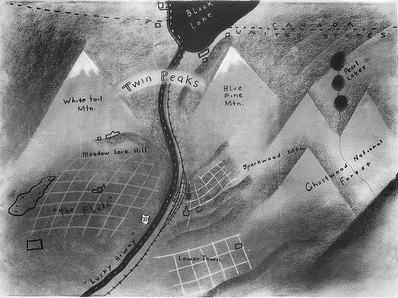 Carte des environs de Twin Peaks dessinée par David Lynch