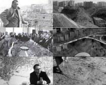 Images du film de la réalité et des projets d'aménagement de la banlieue de Milan. Film images of reality and planification projects in the suburbs of Milano.