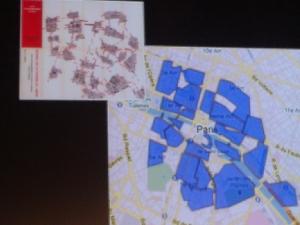 report des espaces du Guide psychogéographique de Paris sur le fonds cartographique GoogleMaps.