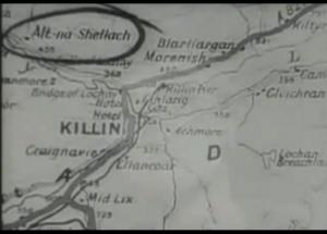 La carte de la région de Killin, en Ecosse, montre le village d'Alt-na-Shellach qui est entouré