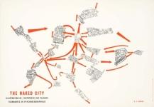 Guy Debord, The Naked City, 1957 (Illustration de l'hypothèse des plaques tournantes en psychogéographique), édité par le Mouvement International pour un Bauhaus Imaginiste.