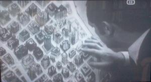 Détail du plan montrant les bâtiments en vue perspective