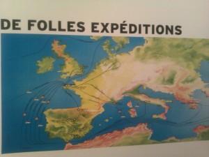 """Cartes des """"folles expéditions"""" d'Astérix dans le monde"""