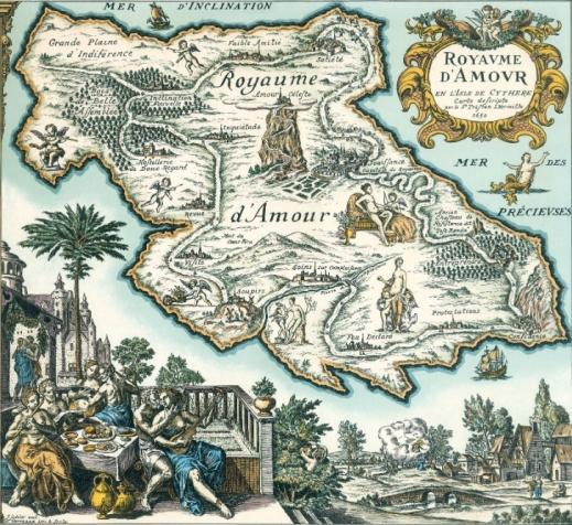 """""""Le Royaume d'Amour en l'Isle de Cythère"""", carte décrite par le Sieur Tristan Lhermitte, 1650"""