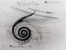 "(Dessin du projet ""Spiral jetty"" de Smithson, copyright Estate of Robert Smithson, courtesy of the James Cohan Gallery, New York.)"