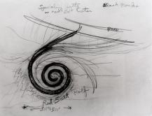 "(Dessin du projet ""Spiral jetty"" de Smithson, copyright Estate of Robert Smithson, courtesy of the James Cohan Gallery, New York.)"
