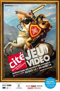 """Affiche de """"Jeu vidéo l'EXPO"""" (copyright Cité Universcience, 2103)"""