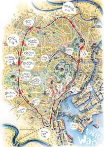Carte de Tokyo avec la localisation des quartiers représentés dans le livre Tokyo Sanpo, qui sert aussi de table des matières.