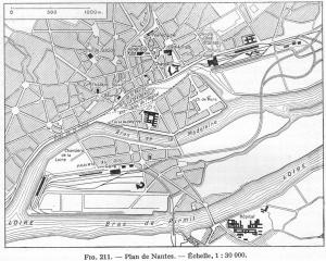 Plan de Nantes au 1/30 000, extrait de la Géographie Universelle de Paul Vidal de La Blache et Louis Gallois, 1948