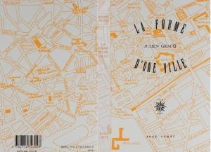 Plan du centre de Nantes : recto, verso et dos de la couverture du livre de Julien Gracq (copyright Editions José Corti, 1985)