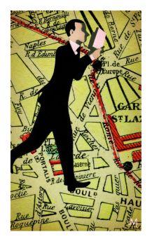 Illustration de Jean-François Martin. Tirée du feuilleton d'Eric Chevillard, à propos de « Pour que tu ne te perdes pas dans le quartier », de Patrick Modiano. LE MONDE DES LIVRES. 02.10.2014