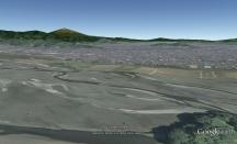 (Vue du Mont Fuji dans GoogleEarth avec la rivière Oi au premier plan)