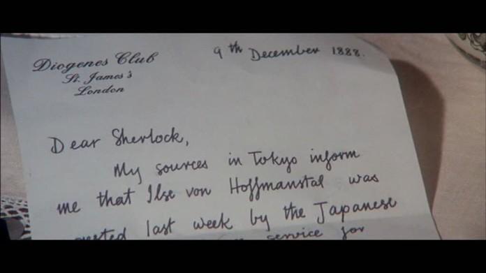 Fig. 11- La lettre de Mycroft annonçant la mort de Ilse-Gabrielle